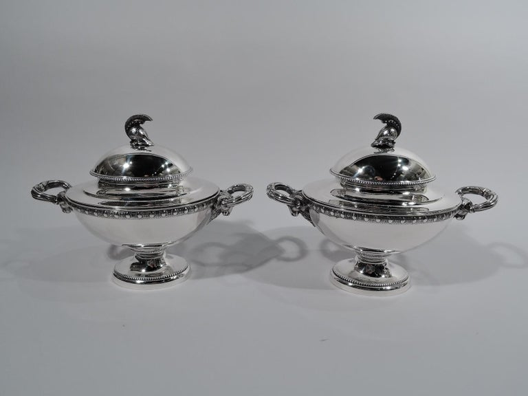 Set of 3 Super Stylish Early Tiffany Etruscan Revival Sterling Silver Tureens In Excellent Condition For Sale In New York, NY