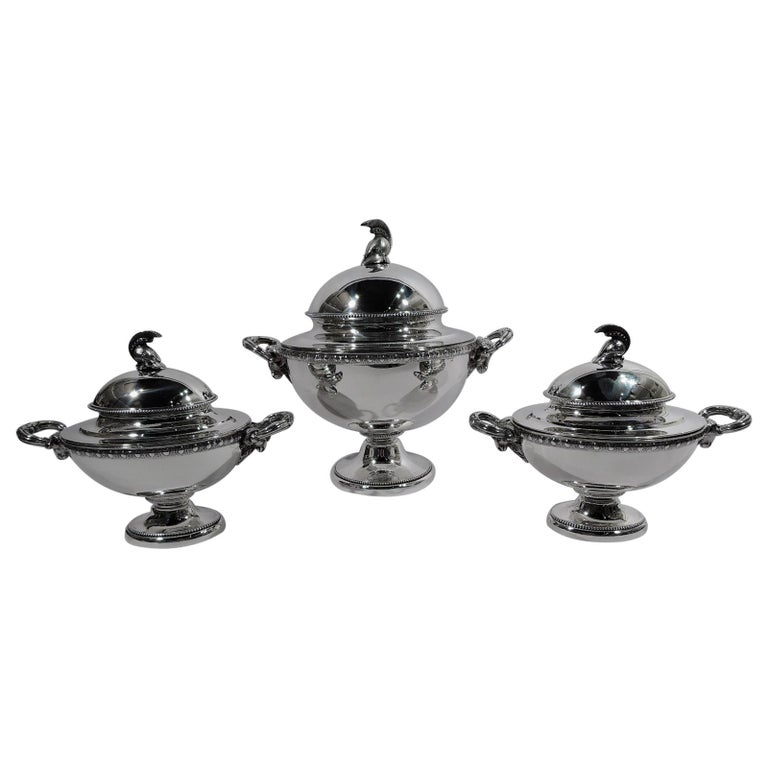 Set of 3 Super Stylish Early Tiffany Etruscan Revival Sterling Silver Tureens For Sale