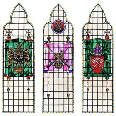 Set of 3 Tall Stained Glass Windows