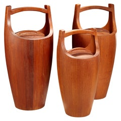 "Set of 3 Teak ""Congo"" Ice Buckets by Jens Quistgaard for Dansk"