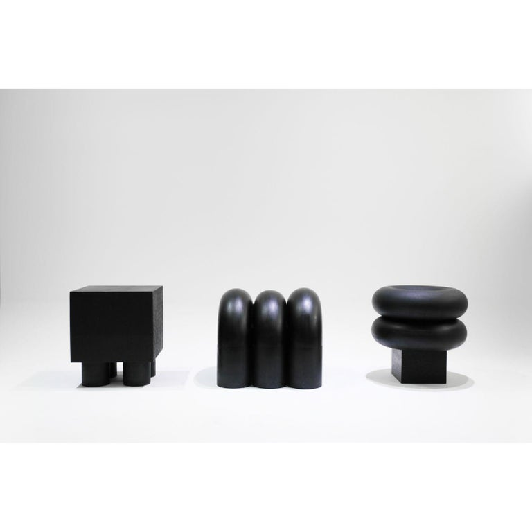 Set of 3 Time of Action by Chaeyoung Lee Materials: Ebonized and Carved Wood Dimensions: 100 x 100 x 50 cm  Time of Action is a minimal and carefully crafted furniture collection created by South Korean-based designer Chaeyoung Lee. Time of