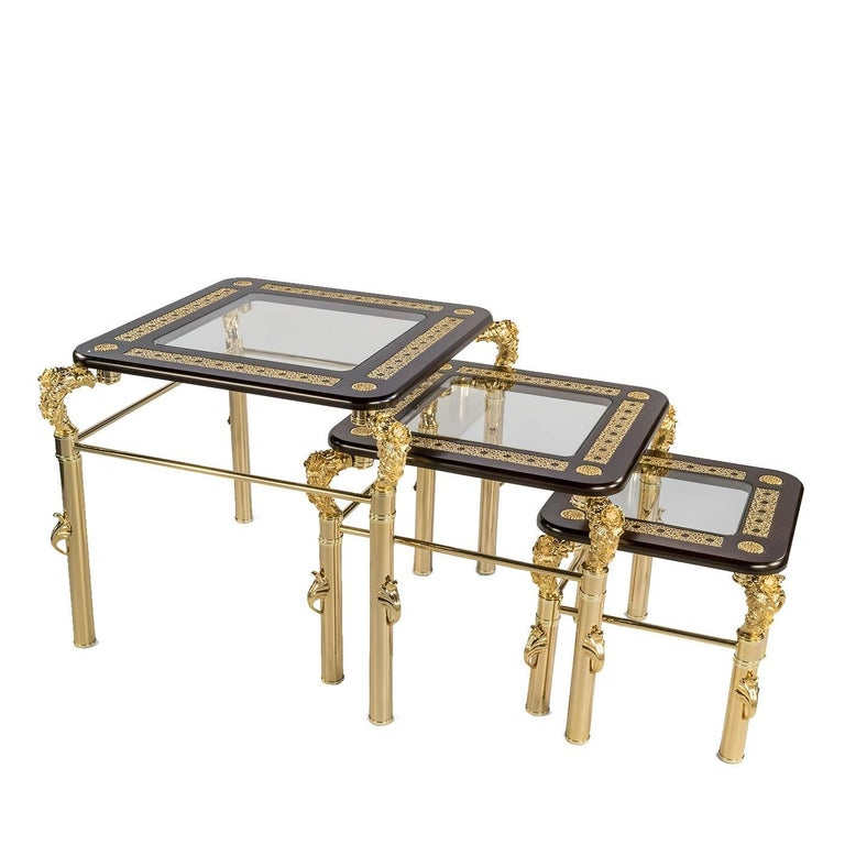 Set of Three Tinted Side Tables
