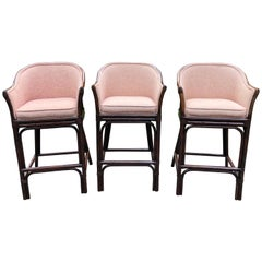 Set of 3 Traditional Wood and Rattan Bar Stools