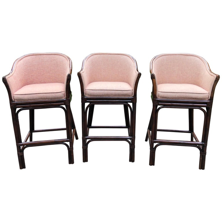 Set of 3 Traditional Wood and Rattan Bar Stools For Sale