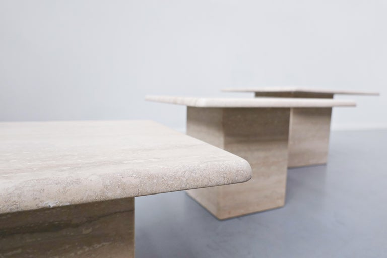 Set of 3 Travertine coffee tables, 1970s