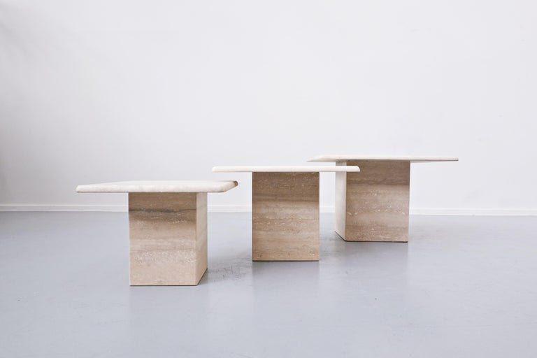 Set of 3 Travertine Coffee Tables, 1970s In Good Condition In Brussels, BE