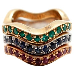 Set of 3 Tri Color 14k Gold Stackable Wave Band Rings Ruby Sapphire Emerald