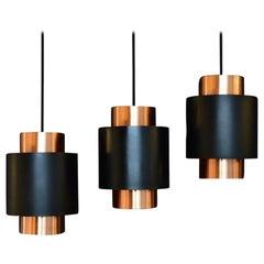 "Set of 3 ""Tunika"" Copper Pendant Lamps by Fog & Mørup, Denmark, 1963"