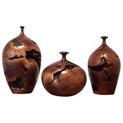 Set of 3 Turned Burl Wood Vessels by Hap Sakwa Signed and Dated