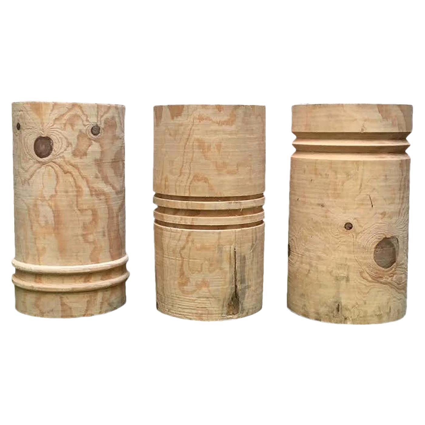 Set of 3 Turned Wood Stools