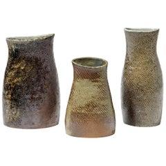 Set of 3 Vases Stoneware Ceramics by Martin Hammond La Borne, circa 1970