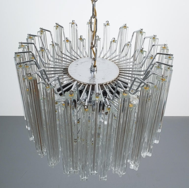 Set of 3 Venini Glass Murano Chandeliers, Midcentury, Italy 4
