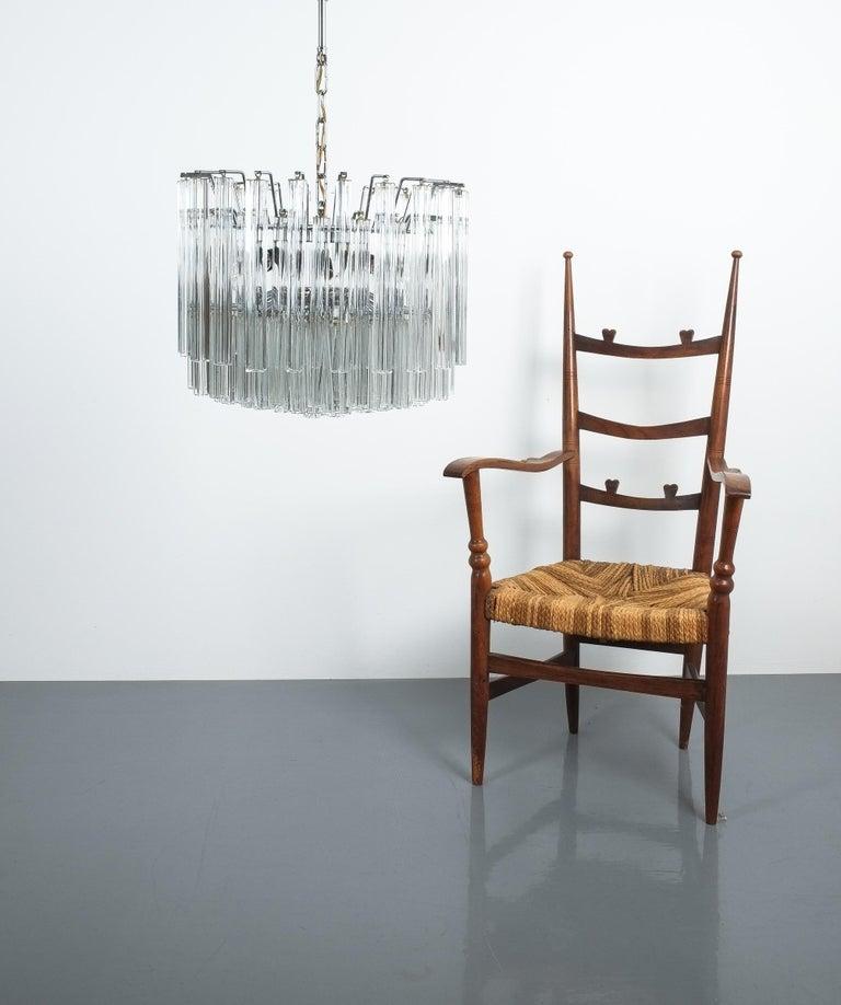 Late 20th Century Set of 3 Venini Glass Murano Chandeliers, Midcentury, Italy