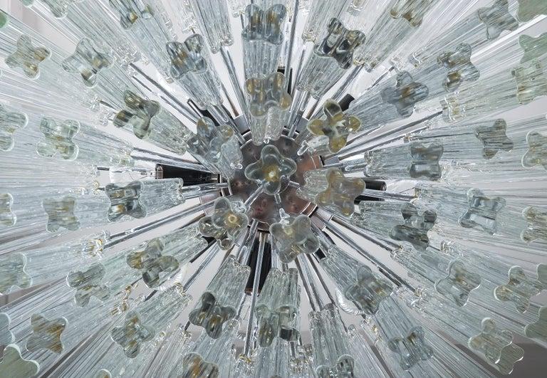 Metal Set of 3 Venini Glass Murano Chandeliers, Midcentury, Italy
