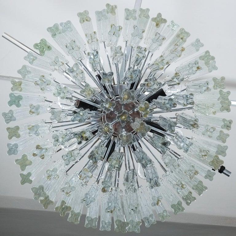 Set of 3 Venini Glass Murano Chandeliers, Midcentury, Italy 1