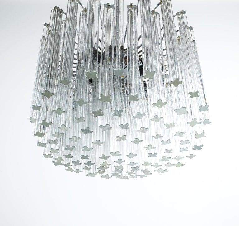 Set of 3 Venini Glass Murano Chandeliers, Midcentury, Italy 2