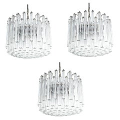 Set of 3 Venini Glass Murano Chandeliers, Midcentury, Italy