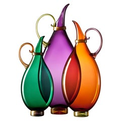 Set of 3 Vibrant Amethyst, Emerald, Apricot Blown Glass Pitchers by Vetro Vero