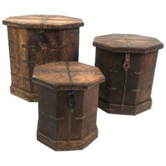 Set of 3 Vintage Asian Nesting Wood Octagonal Box Side Tables