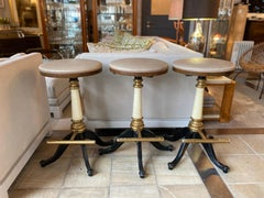 Set of 3 Vintage Bar Stools with Foot Rest