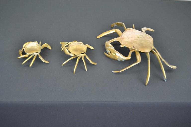 Set of 3 Vintage Brass Crab Trinket Boxes, Crab Sculptures with Lid For Sale 5