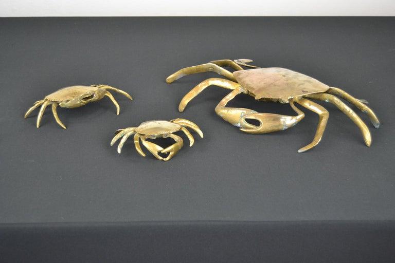 Set of 3 Vintage Brass Crab Trinket Boxes, Crab Sculptures with Lid For Sale 6