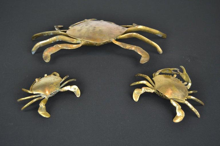 Set of 3 Vintage Brass Crab Trinket Boxes, Crab Sculptures with Lid For Sale 8