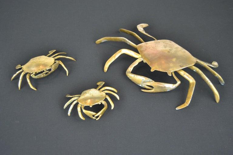 Set of 3 Vintage Brass Crab Trinket Boxes, Crab Sculptures with Lid For Sale 9