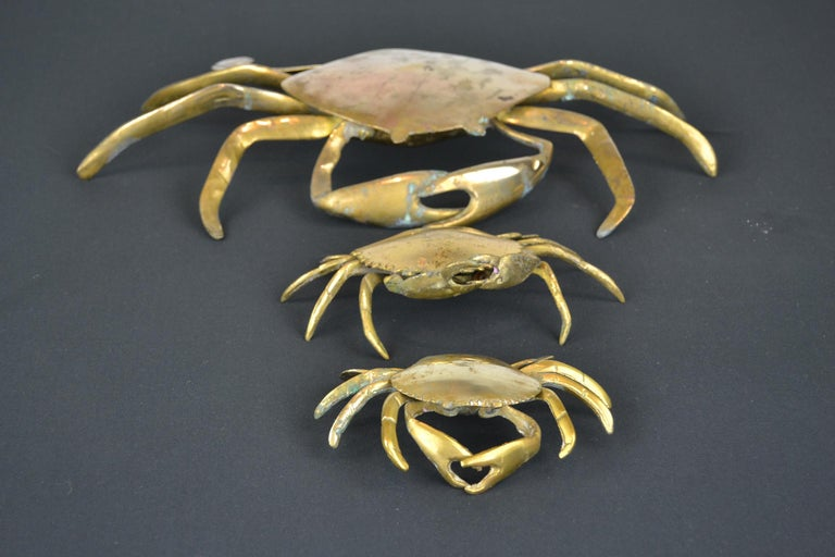 Set of 3 Vintage Brass Crab Trinket Boxes, Crab Sculptures with Lid For Sale 14