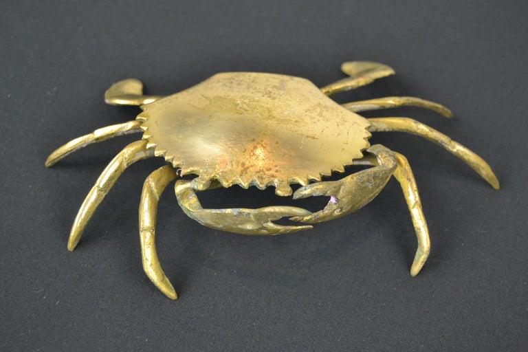 Mid-Century Modern Set of 3 Vintage Brass Crab Trinket Boxes, Crab Sculptures with Lid For Sale
