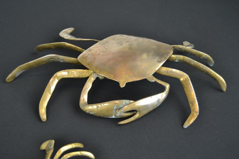 European Set of 3 Vintage Brass Crab Trinket Boxes, Crab Sculptures with Lid For Sale