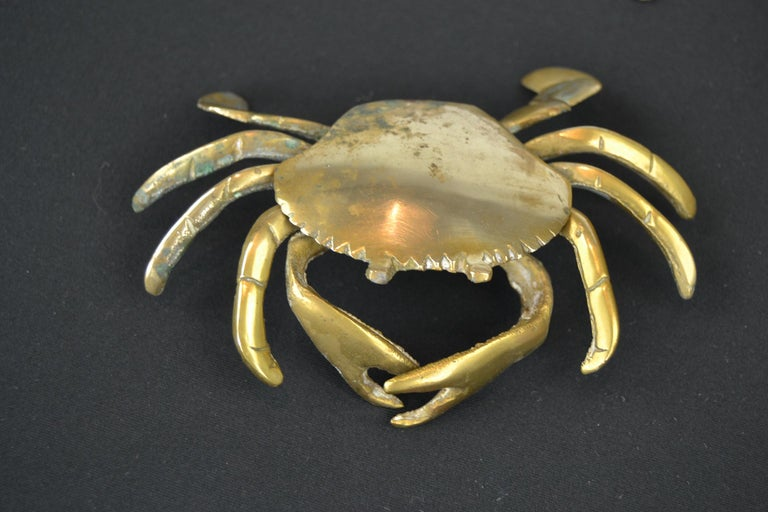 Set of 3 Vintage Brass Crab Trinket Boxes, Crab Sculptures with Lid In Good Condition For Sale In Antwerp, BE