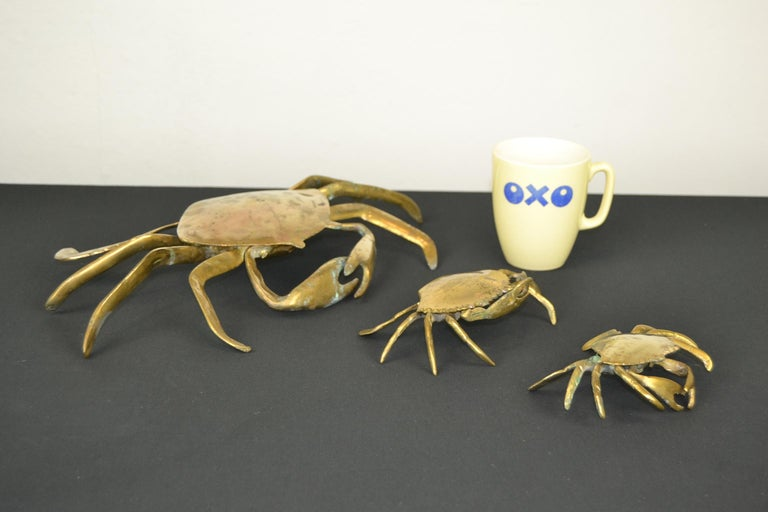 20th Century Set of 3 Vintage Brass Crab Trinket Boxes, Crab Sculptures with Lid For Sale