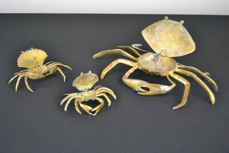 Set of 3 Vintage Brass Crab Trinket Boxes, Crab Sculptures with Lid For Sale 1