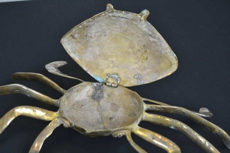 Set of 3 Vintage Brass Crab Trinket Boxes, Crab Sculptures with Lid For Sale 2
