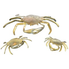 Set of 3 Vintage Brass Crab Trinket Boxes, Crab Sculptures with Lid