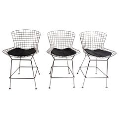 Set of 3 Vintage Chrome Wire Bar Stools, 1980s