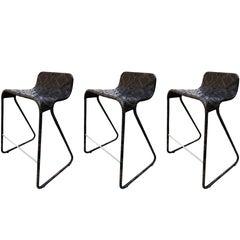 Satz von 3 Vintage Tresen Hocker mit geflochtenen Sitze und Rahmen