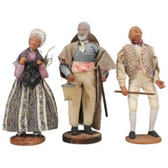 Set of '3' Vintage French Santon Folklore Dolls from the Provence