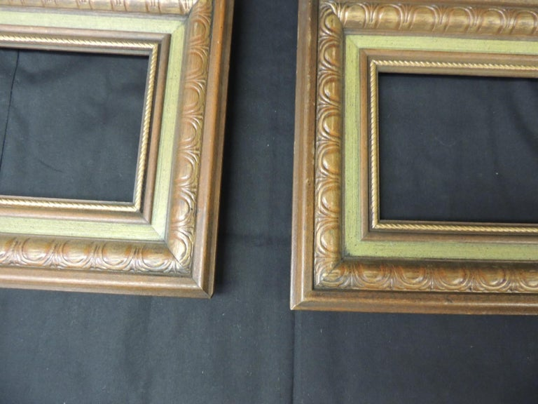 Set of (3) vintage green painted wood art frames