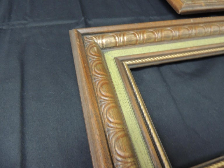 Hollywood Regency Set of '3' Vintage Green Painted Wood Art Frames For Sale