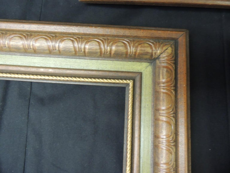 Hand-Crafted Set of '3' Vintage Green Painted Wood Art Frames For Sale