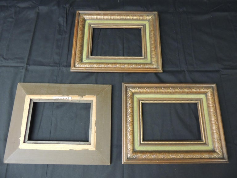 Set of '3' Vintage Green Painted Wood Art Frames In Good Condition For Sale In Fort Lauderdale, FL