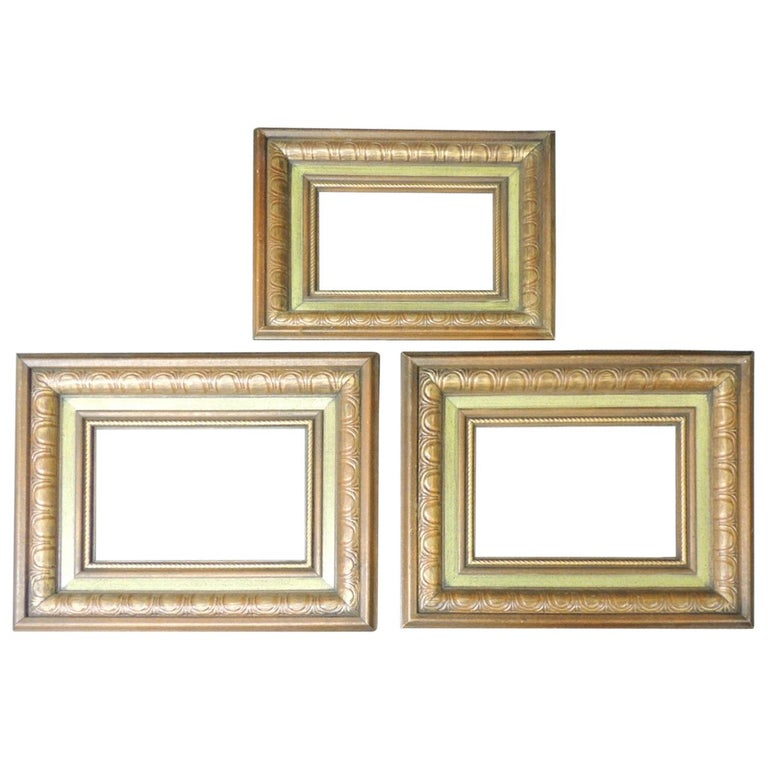 Set of '3' Vintage Green Painted Wood Art Frames For Sale