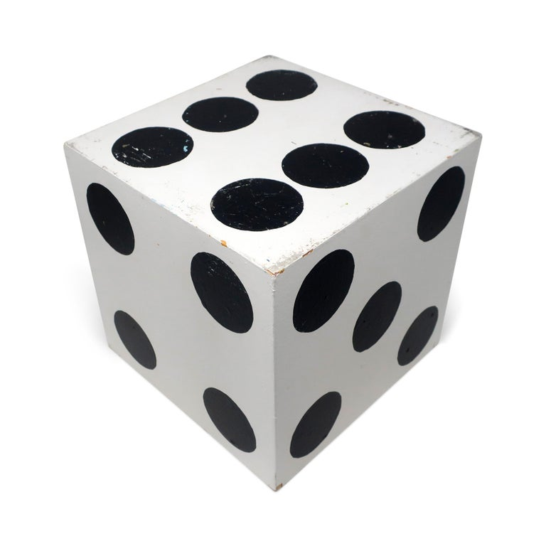 Set of 3 Vintage Handmade Giant Dice In Fair Condition For Sale In Brooklyn, NY