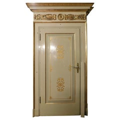 Set of 3 Vintage Lacquered/Gilded Doors, Complete with Frame, Early '900 Italy