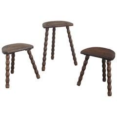 Set of 3 Vintage Turned Wood Stools