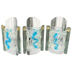Set of 3 Wall Lamp Sconces Chrome and Murano Glass Blue by Mazzega, Italy, 1970s