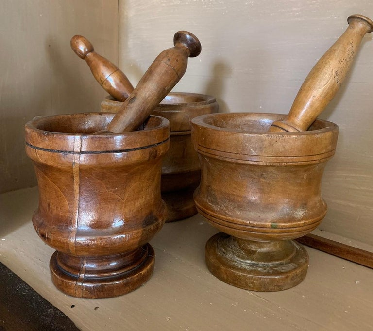 Set of 3 Walnut Mortars with Pestle For Sale 5