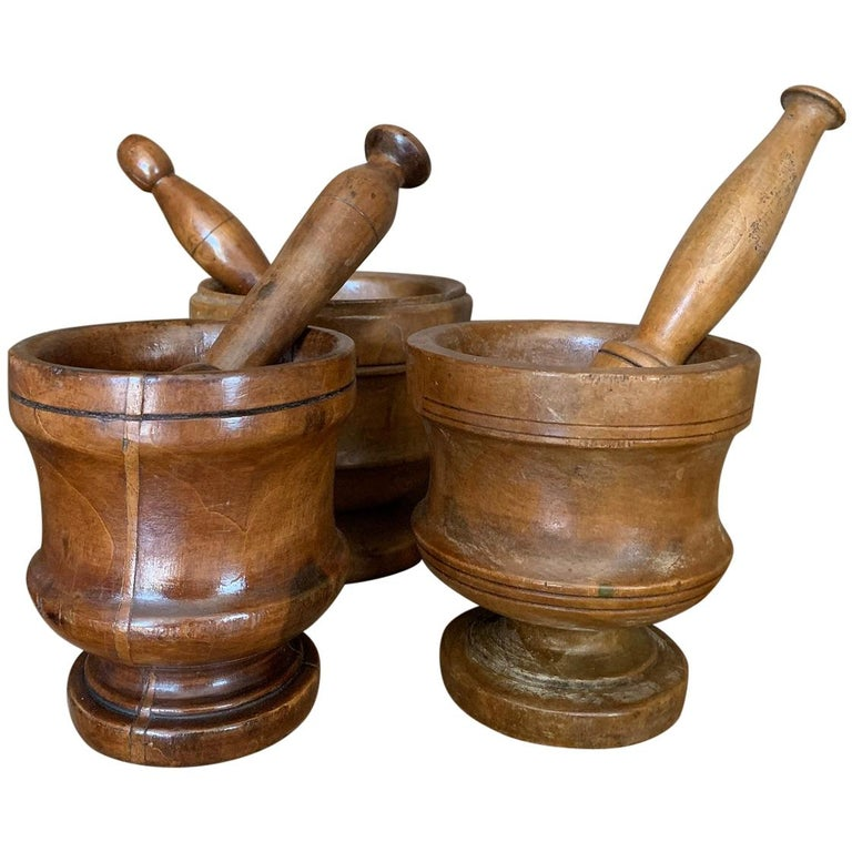 Set of 3 Walnut Mortars with Pestle For Sale